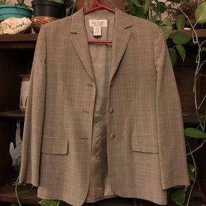 Taupe/grey/beige blazer with subtle plaid design